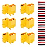 RUNCCI-YUN XT90 Battery Connector Set for RC Lipo Battery Motor 6 Pairs Yellow, 6 Male Connectors + 6 Female Connectors